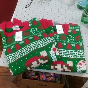 2 mario christmas sweaters size small and med